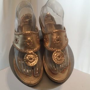 Jack Rogers Gold Espadrille Wedge Thong Sandals 7